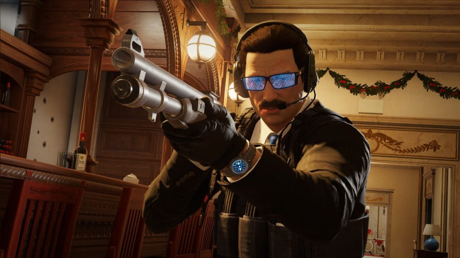 Rainbow Six Siege operator Warden looking suave and staring down his shotgun