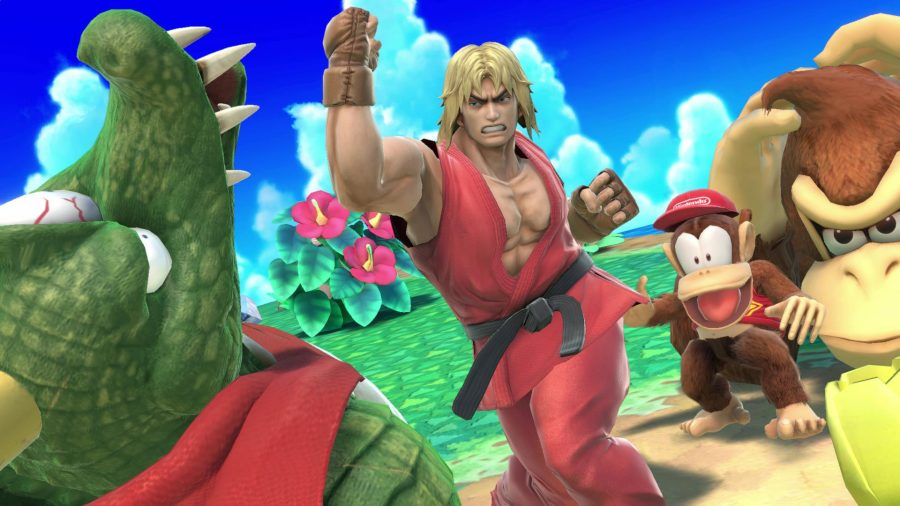 Super Smash Bros Ultimate Ken punching up into the air