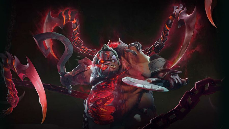 Dota 2's Pudge with a sythe looking menacing