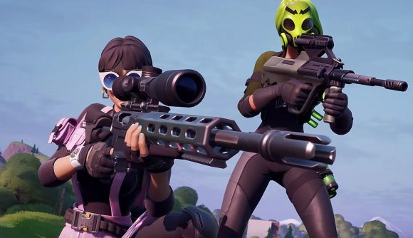 A Fortnite character aims down the sights of a sniper rifle