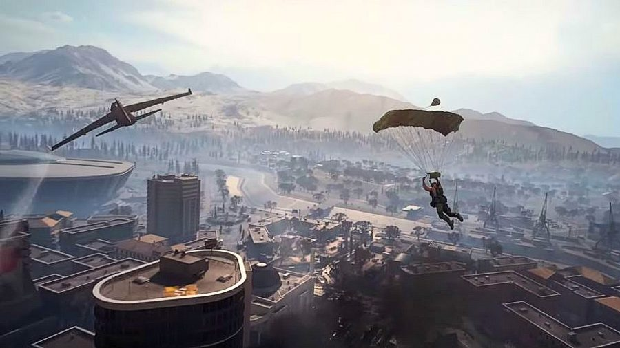 Call of Duty Warzone player parachuting into Verdansk