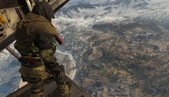 Call of Duty: Warzone player standing at the edge of the plane looking over Verdansk