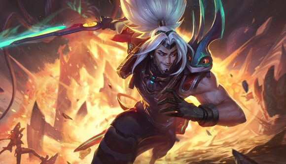 Yasuo, with his long white hair in a ponytail, runs away from a fire