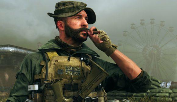 Warzone character Captain Price smoking a cigar