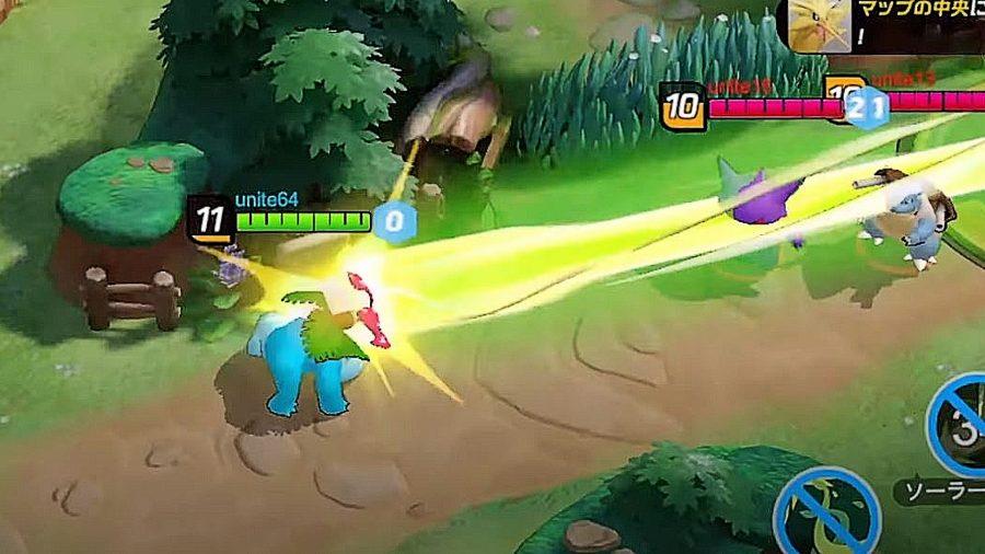 Bulbasar fights in Pokemon Unite