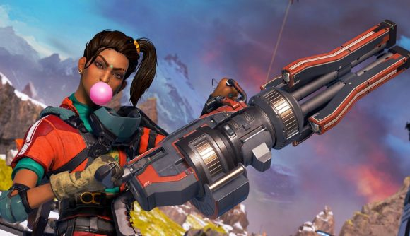 Rampart blows a pink bubblegum bubble and holds her minigun