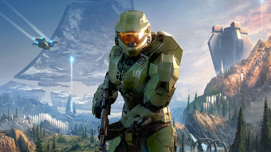 Master Chief in front of a space backdrop