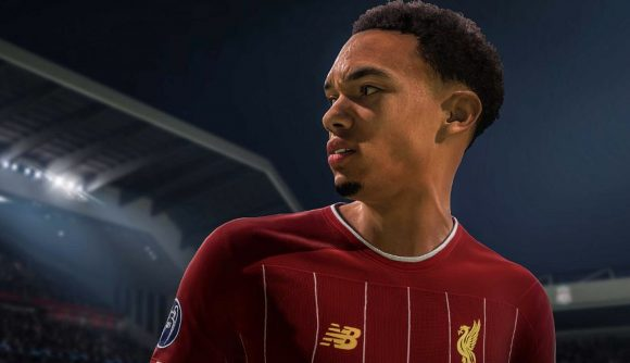 Trent Alexander-Arnold looks off-camera to the left in FIFA 21