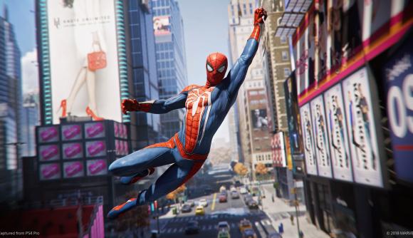 Spider-Man swings through New York on a web