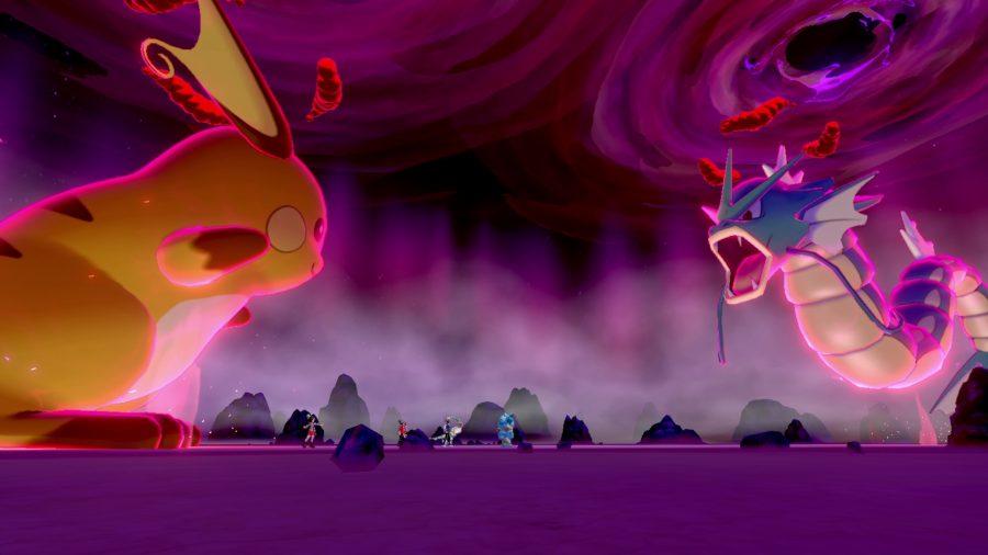 Dynamax Raichu and Gyarados face off against each other