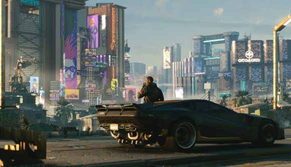 A man leans against a supercar in the foreground, looking out over a Cyberpunk city