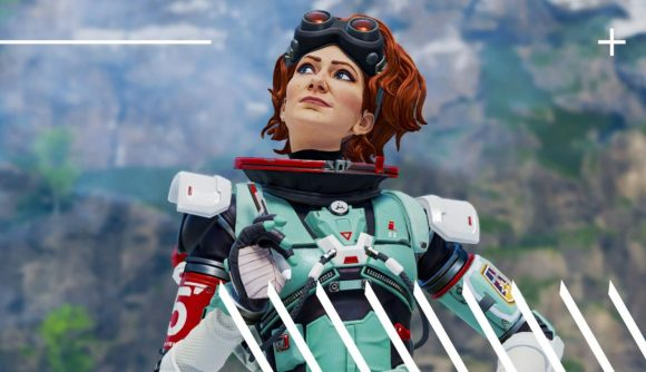 Horizon in Apex Legends is a redhead with a futuristic space suit, and a pair of welder's goggles on her forehead.