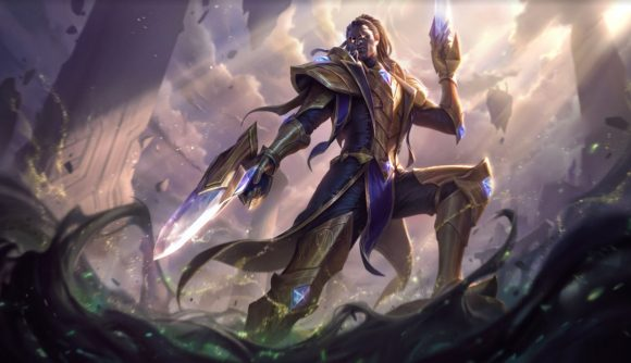 Lucian, looking particularly victorious, standing on a rock while pointing a weird gun at the slimy liquid underneath him.
