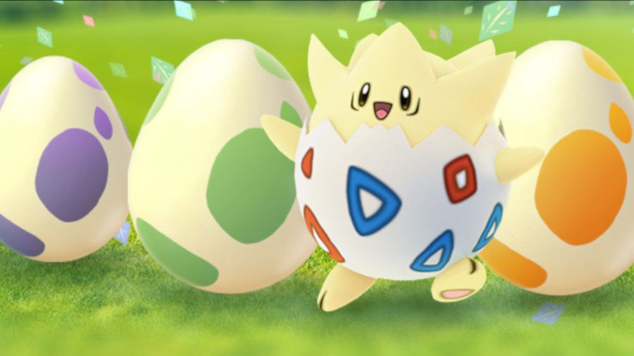 A Togepi stands next to some eggs. There's one of the three original eggs each.