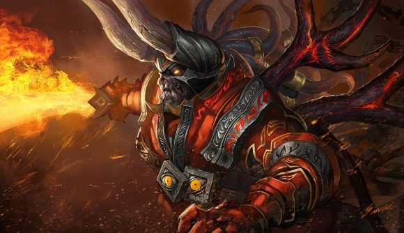 Red and silver Doom in Dota 2
