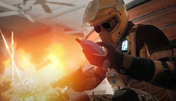 Mozzie using his phone to trigger an explosion in Rainbow Six Siege