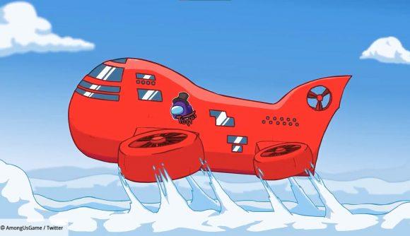 Big red Among Us airship