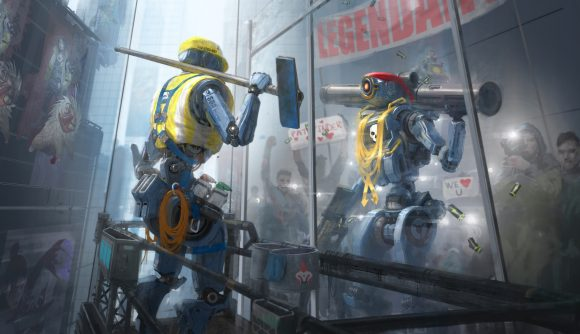 Apex Legends' Pathfinder looks at his reflection, imagining success in the Apex Games