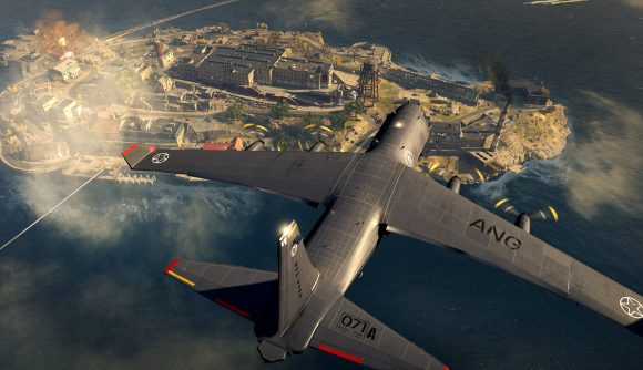 A plane flies over Rebirth Island in Warzone