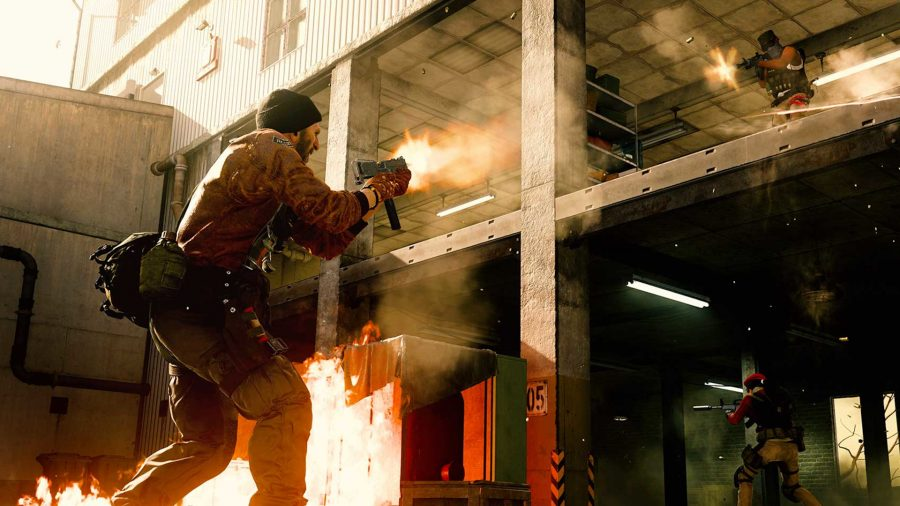 A Warzone character shooting a MAC-10 into a building