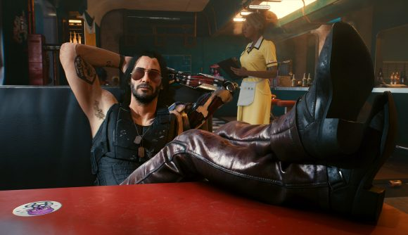 Keanu Reeves as Johnny Silverhand looking smug