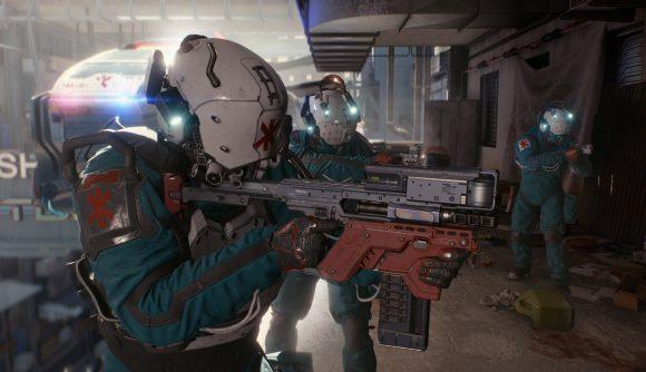 three cyberpunk soldiers with guns