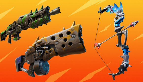 Makeshift weapons in Fortnite against an orange background