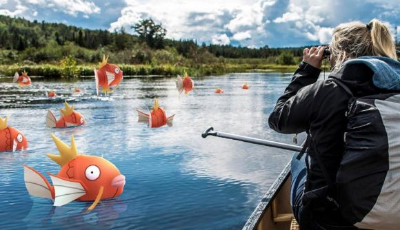 A woman fishing for Magikarp in the real world