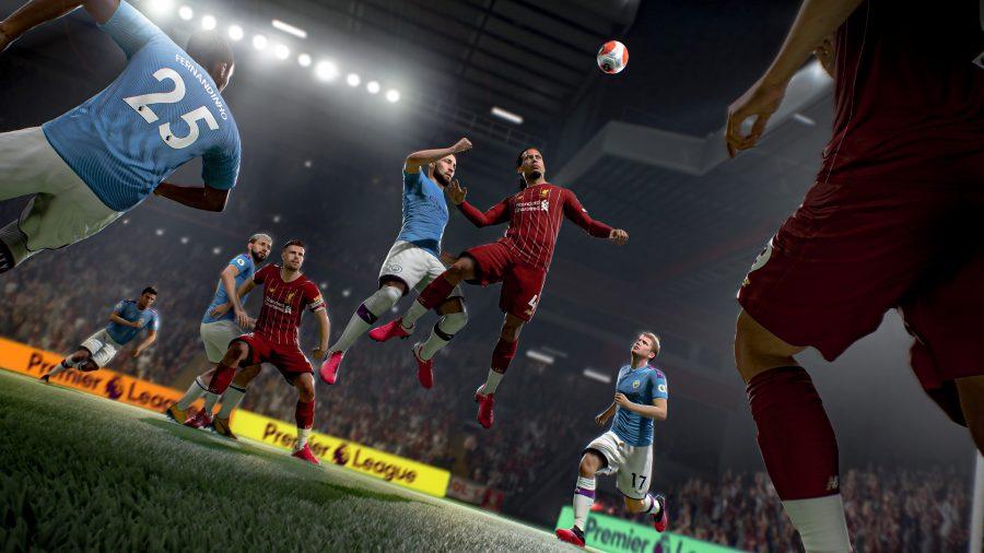 Van Dijk heads the ball in FIFA 21