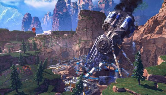 A panorama of Apex Legends' original map King's Canyon, but a huge blue spaceship has crash landed in the ground