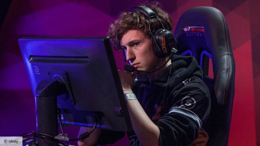CS:GO-turned Valorant player Boaster sitting in a gaming chair with a headset on