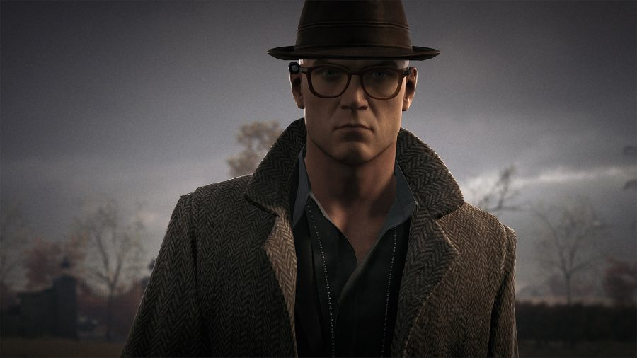 Agent 47 dressed as a detective