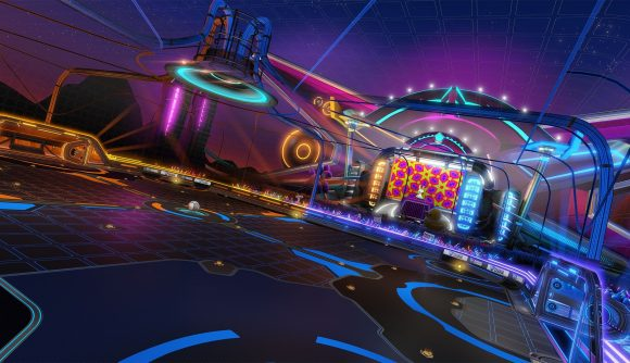 Rocket League's Neon Fields arena, which is getting an effect intensity option in the next update