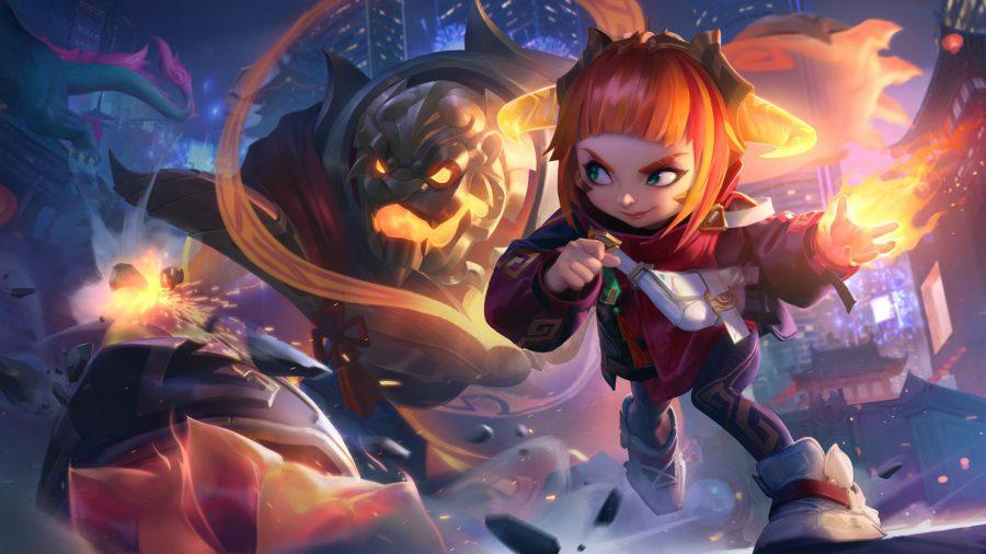Annie in her Lunar Beasts fiery skin