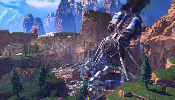 A screenshot of the new Crash Site location on Kings Canyon in Apex Legends