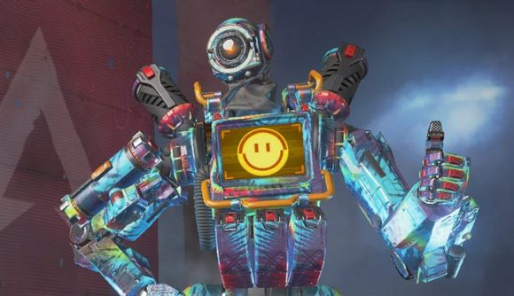 Pathfinder, the blue robot from Apex Legends, giving a thumbs up