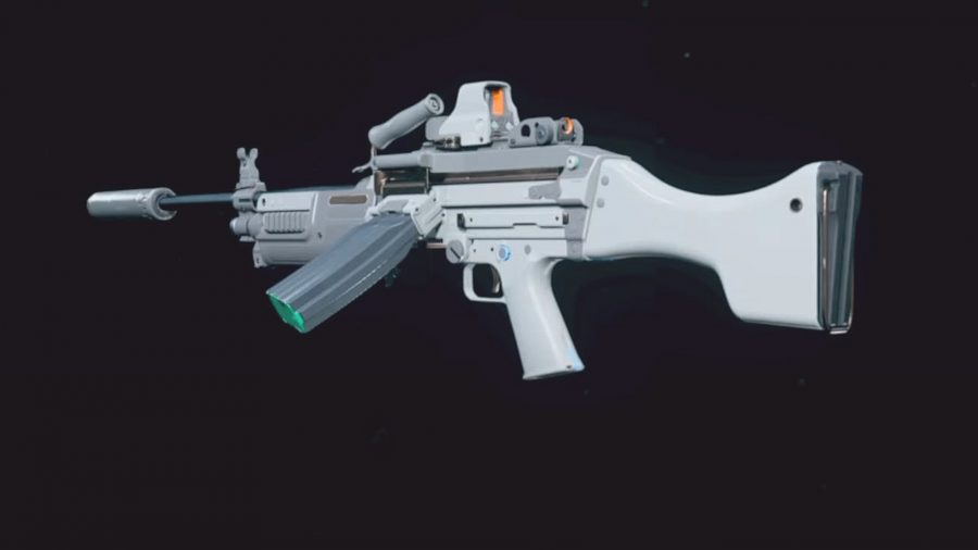 A white and grey variant of the Bruen light machine gun in Warzone