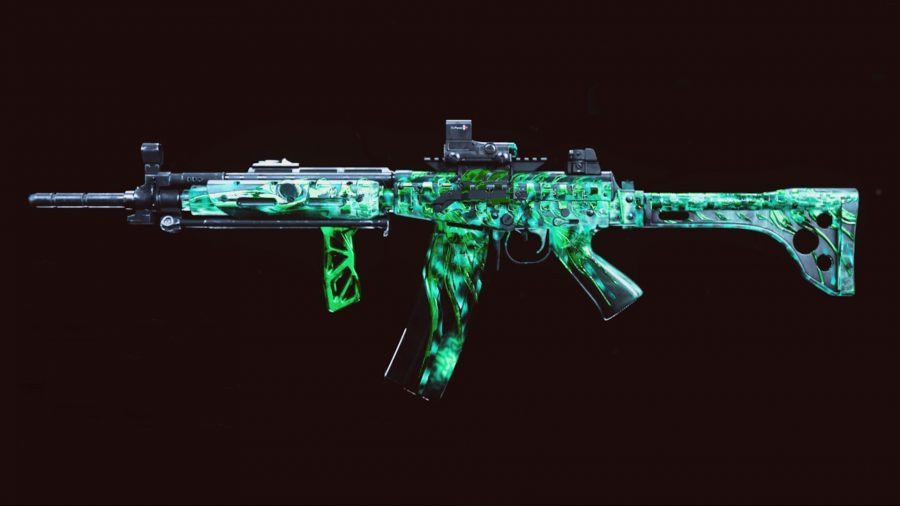 A side profile of the FARA 83 assault rival in Warzone, with a dark green camo