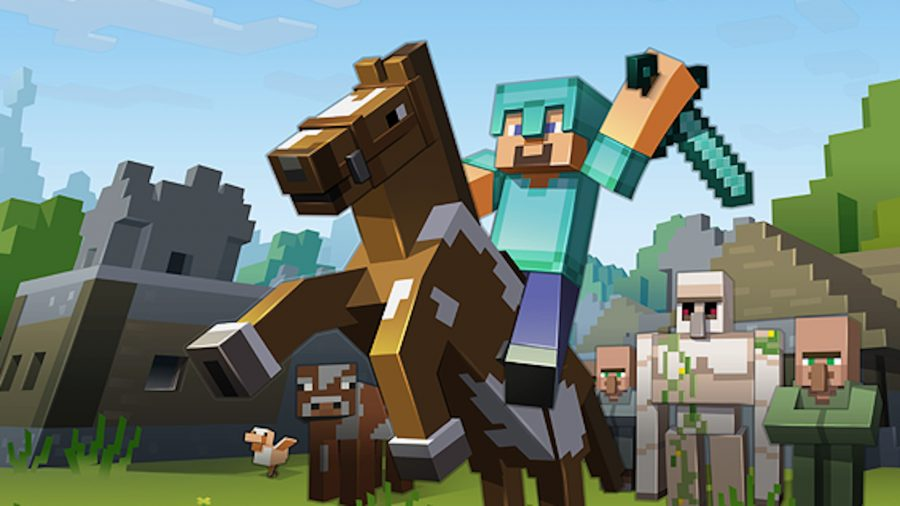 A Minecraft character on a horse brandishing a helmet
