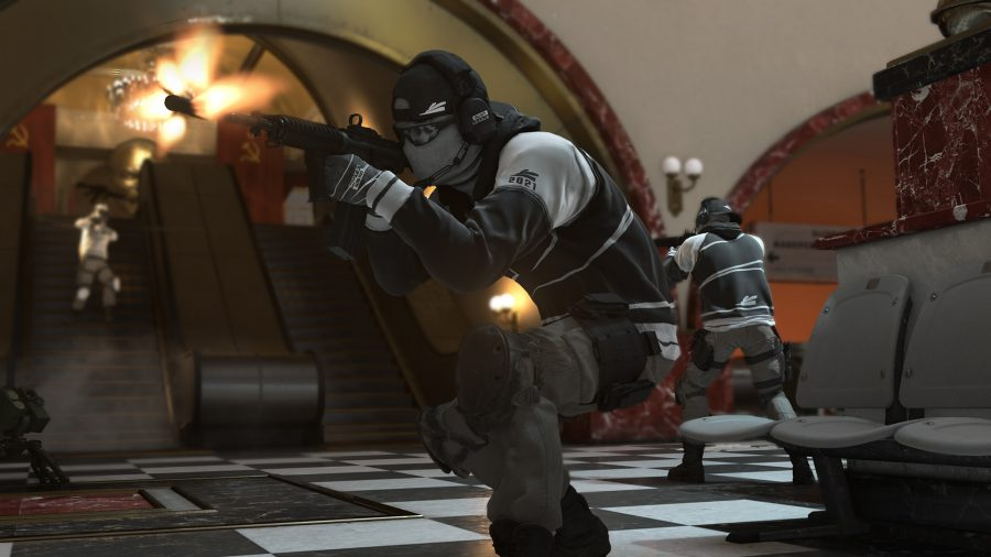 A character in Black Ops Cold War, wearing a grey combat outfit and balaclava, fires their weapon