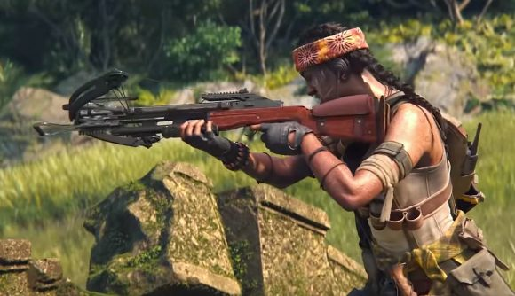 A female operator in Black Ops Cold War, wearing jungle camo and a headband, wielding a crossbow
