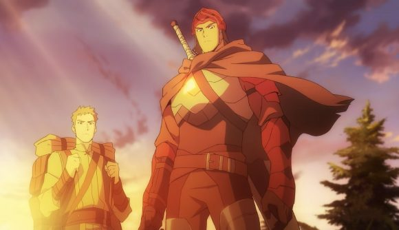 Two armoured men staring downward. One is wearing red with a large sword, the other yellow with a large backpack