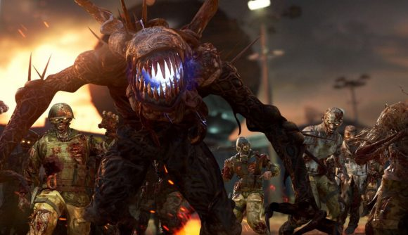 A hoard of zombies in the Firebase Z map in Black Ops Cold War