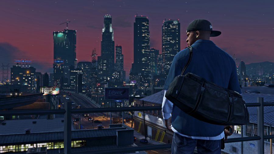 Franklin from GTA 5 stood in front of the city at night
