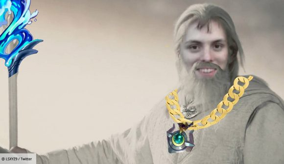 T1 streamer LS stylised as Gandalf from The Lord of the Rings - he is holding a white and blue staff while wearing a gold chain