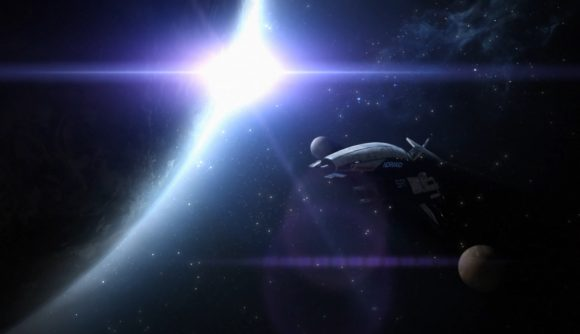 The Normandy spaceship flies past a planet as the lens flares