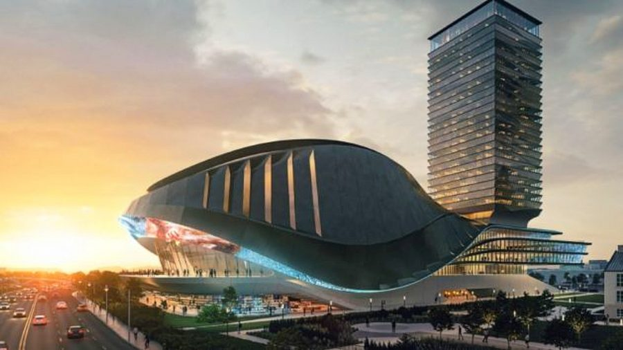 An artist's animation of a 7,000 seater esports arena in Toronto, with a shell-shaped roof and modern design