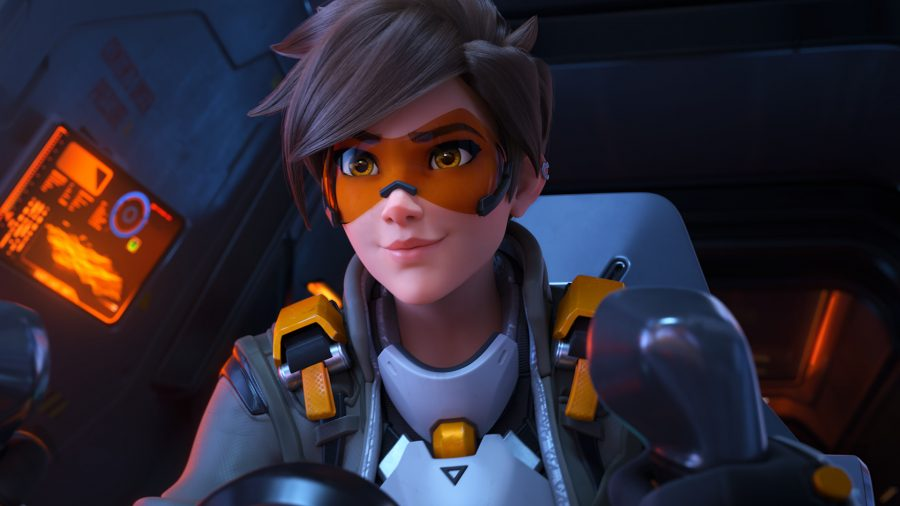 Tracer stares at the camera in an Overwatch 2 cinematic