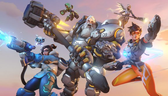 Some of Overwatch 2's roster: Tracer, Mercy, Reinhardt, Mei, and Lucio
