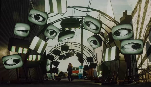 Multiple screen are hung up haphazardly, each showing a stylised eye